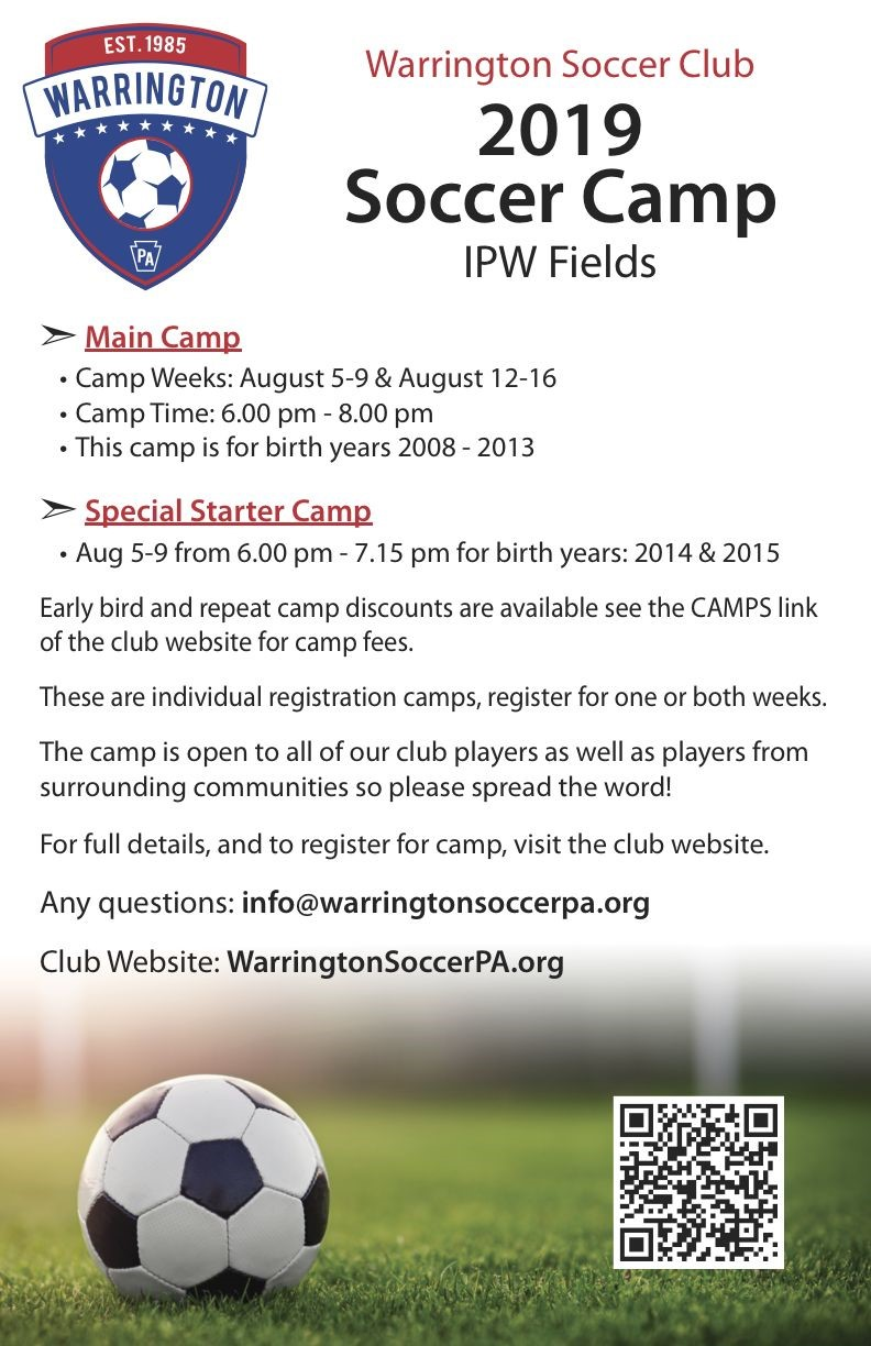 2019 Warrington Soccer Club Camp