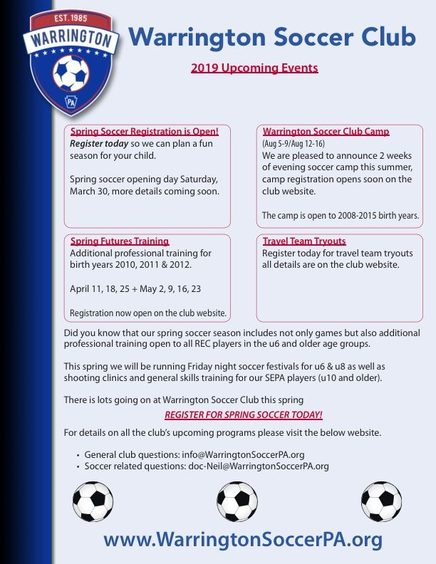 Upcoming Warrington Soccer Events